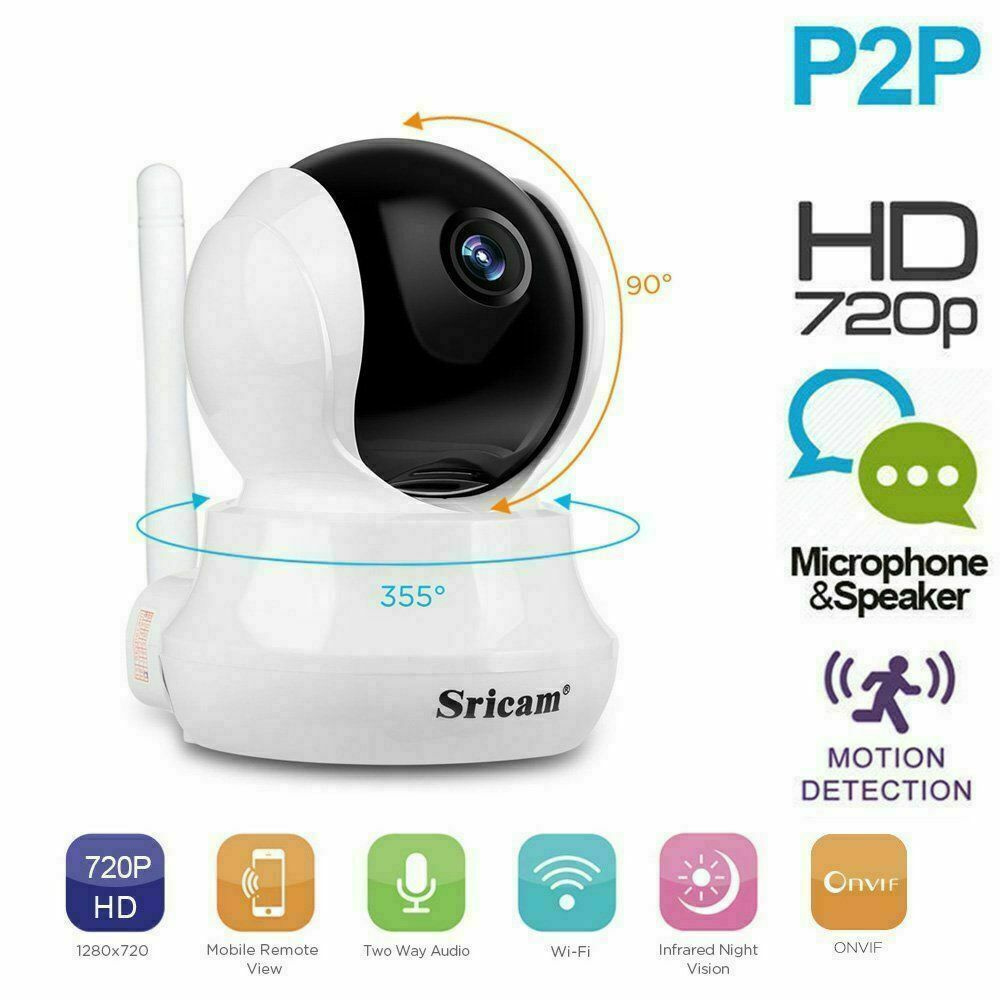 720P Wireless WIFI IP Kamera Überwachungskamera Webcam Wlan Camera Nachtsicht EU