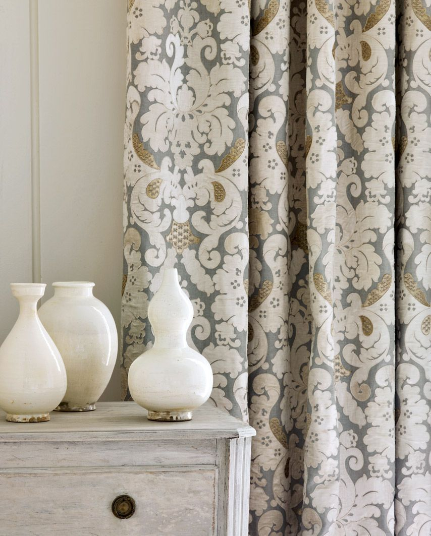 Grey White And Gold Brockham Curtain Fabric A Lovely Classic