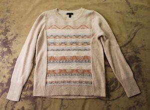 #JCrew #Beige #Wool #Navajo #Southwestern #Pull #Over #Sweater #Top M 8 10 | eBay