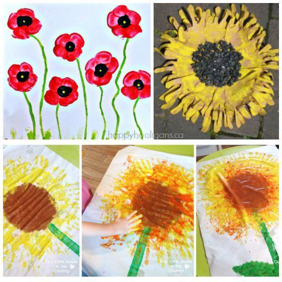 Autumn Craft Ideas Kids Part - 49: Sunflower And Poppy Handprint Crafts For Kids