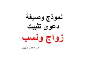 نموذج وصيغة دعوى تثبيت زواج ونسب نادي المحامي السوري Arabic Calligraphy Calligraphy