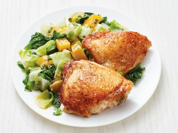 Crispy Chicken Thighs With Butternut Squash And Escarole Recipe In