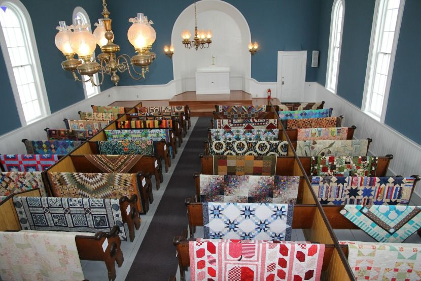 St. Paul's Church in Port Gamble - old varnished pews draped with ... : quilted strait port gamble - Adamdwight.com