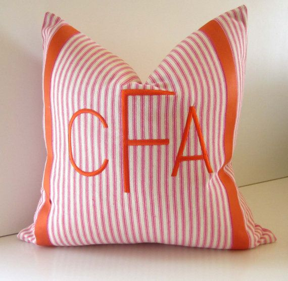 monogram + ticking + pink + orange
