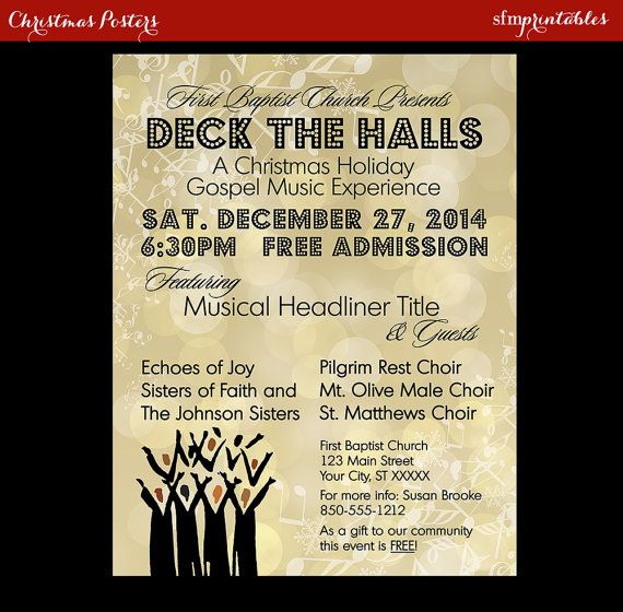 Gospel Concert Invitation Poster Flyer  Choir Church Music Church