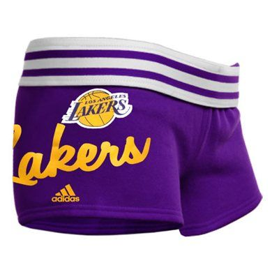 adidas Los Angeles Lakers Youth Girls Rollover Gym Short - Purple ... c1a2ede5b
