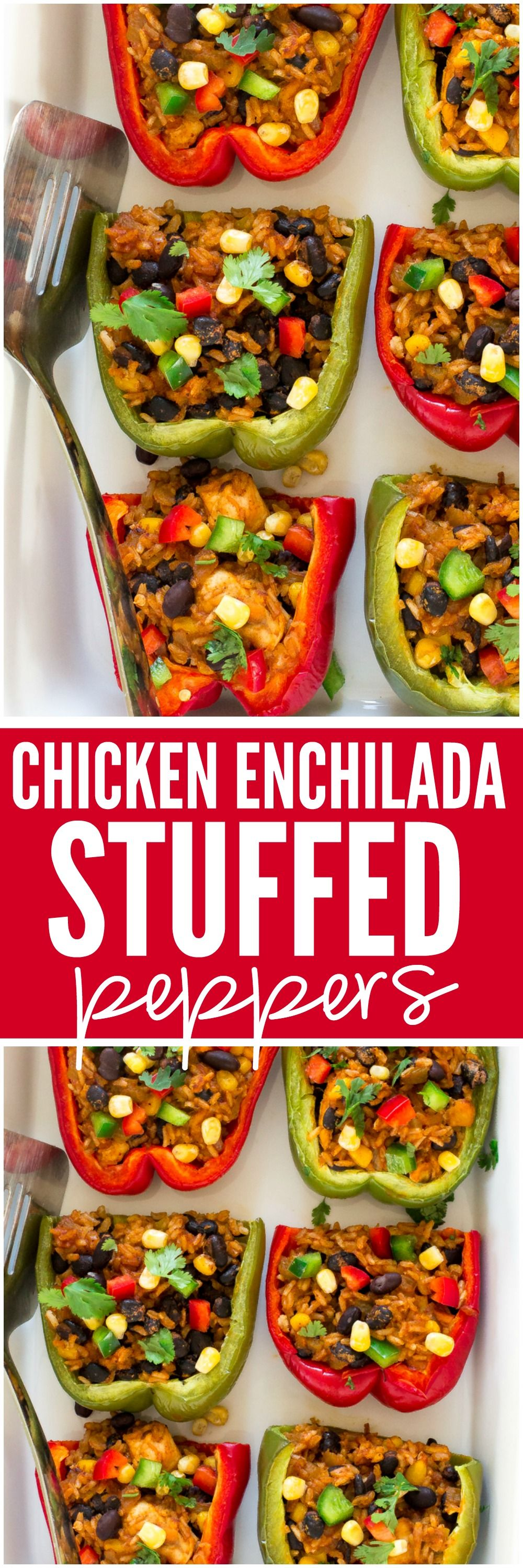 Chicken Enchilada Stuffed Peppers. Loaded with brown rice, enchilada sauce, chicken, corn and black beans!
