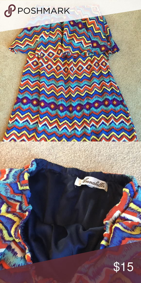 Multicolored chevron strapless dress Fully lined top. 100% rayon Annabella Dresses Strapless