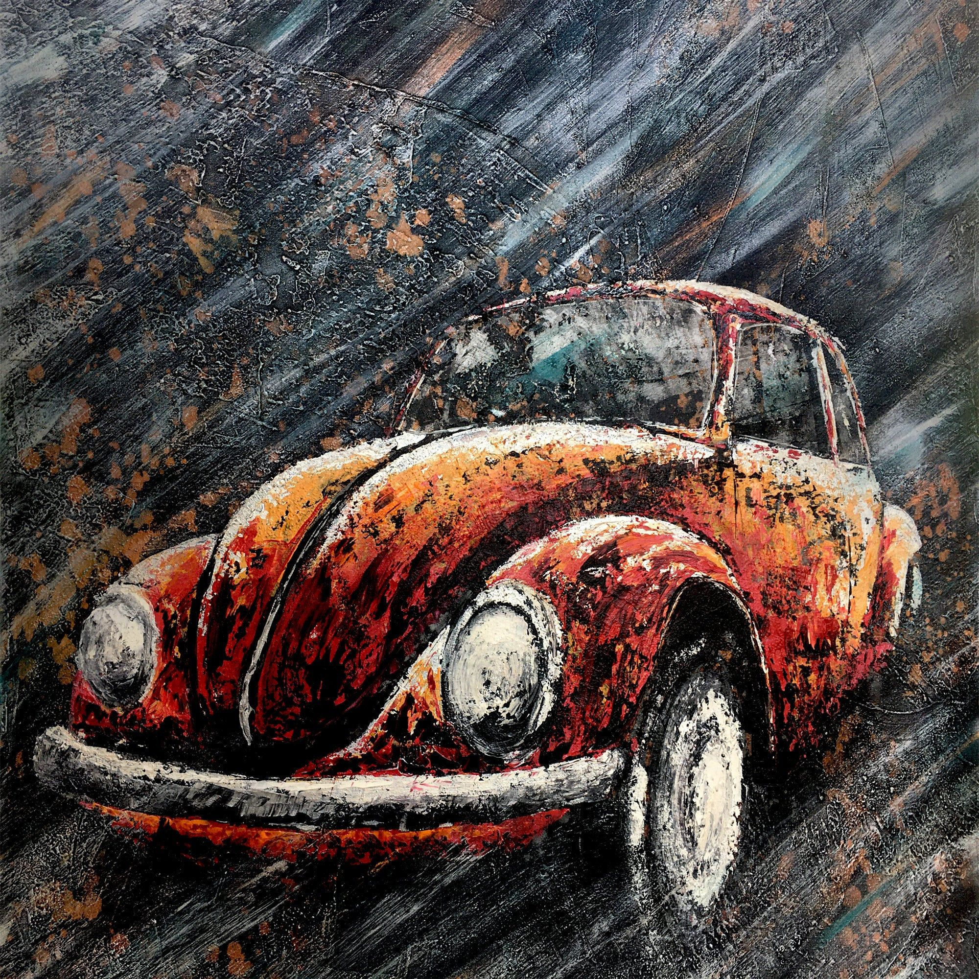 Vintage Car Painting On Canvas Wall Art Creative Abstract Acrylic Painting 3d Texture Classic Cars Vintage Car Painting Car Painting Abstract Painting Acrylic