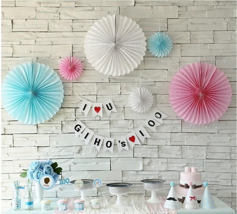 35cm Chinese Tissue Paper Fan DIY Crafts Wedding Decorations Birthday Party Kids Decoupage Home Decorative