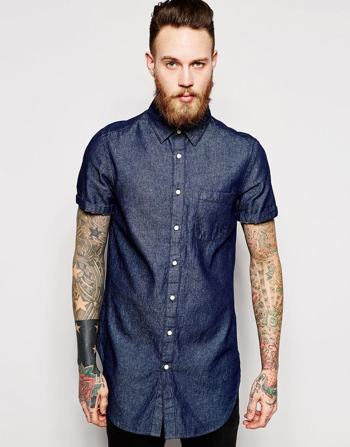 ASOS BRAND ASOS Super Longline Denim Shirt In Short Sleeve With Rinse Wash - Click link for product details :)