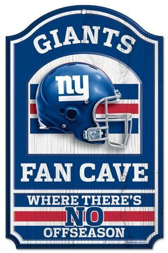 Hardboard Wood Signs Are 1 4 Thick Decorated With Quality Graphics To Resemble An Antique Wood Finish A Matte F Fan Cave Nfl New York Giants New York Giants