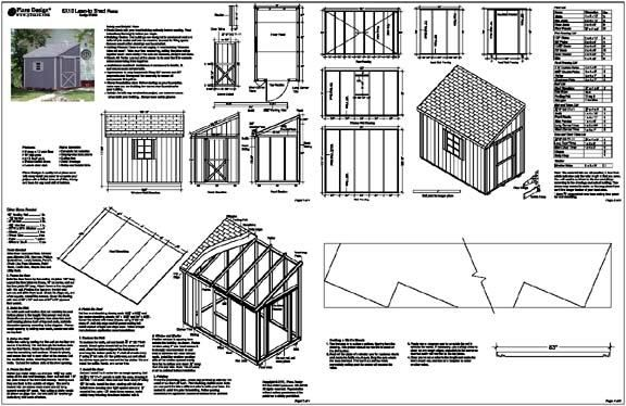 Details about 6 39 x10 39 slant lean to style shed plans see for Shed building plans pdf