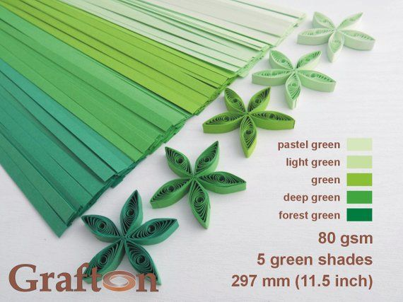 Green Shades Paper Quilling Strips Set Of 5 Colors Mix Pastel Light Gr