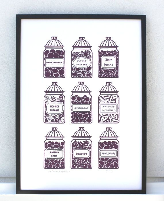 Hand Printed Poster Retro Candy Print Retro Sweet Jars By Print121