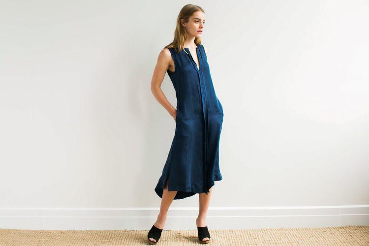 On Repeat Silk Dress in Eleven PM