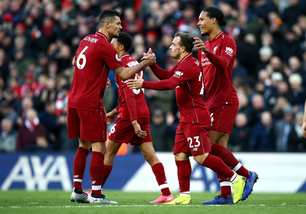 Xherdan Shaqiri Of Liverpool Celebrates With Teammates After Scoring Liverpool Premier League Matches Cardiff City