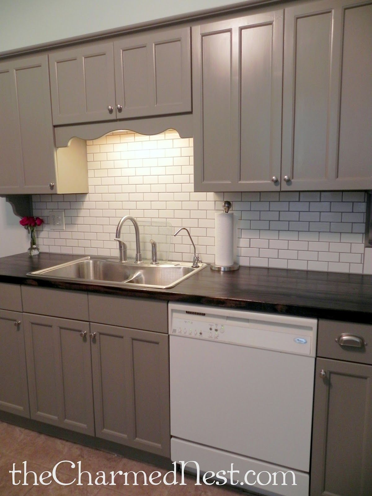 Spray paint for kitchen cupboards  Annie Sloan Chalk Paint in French Linen with General Finishes water