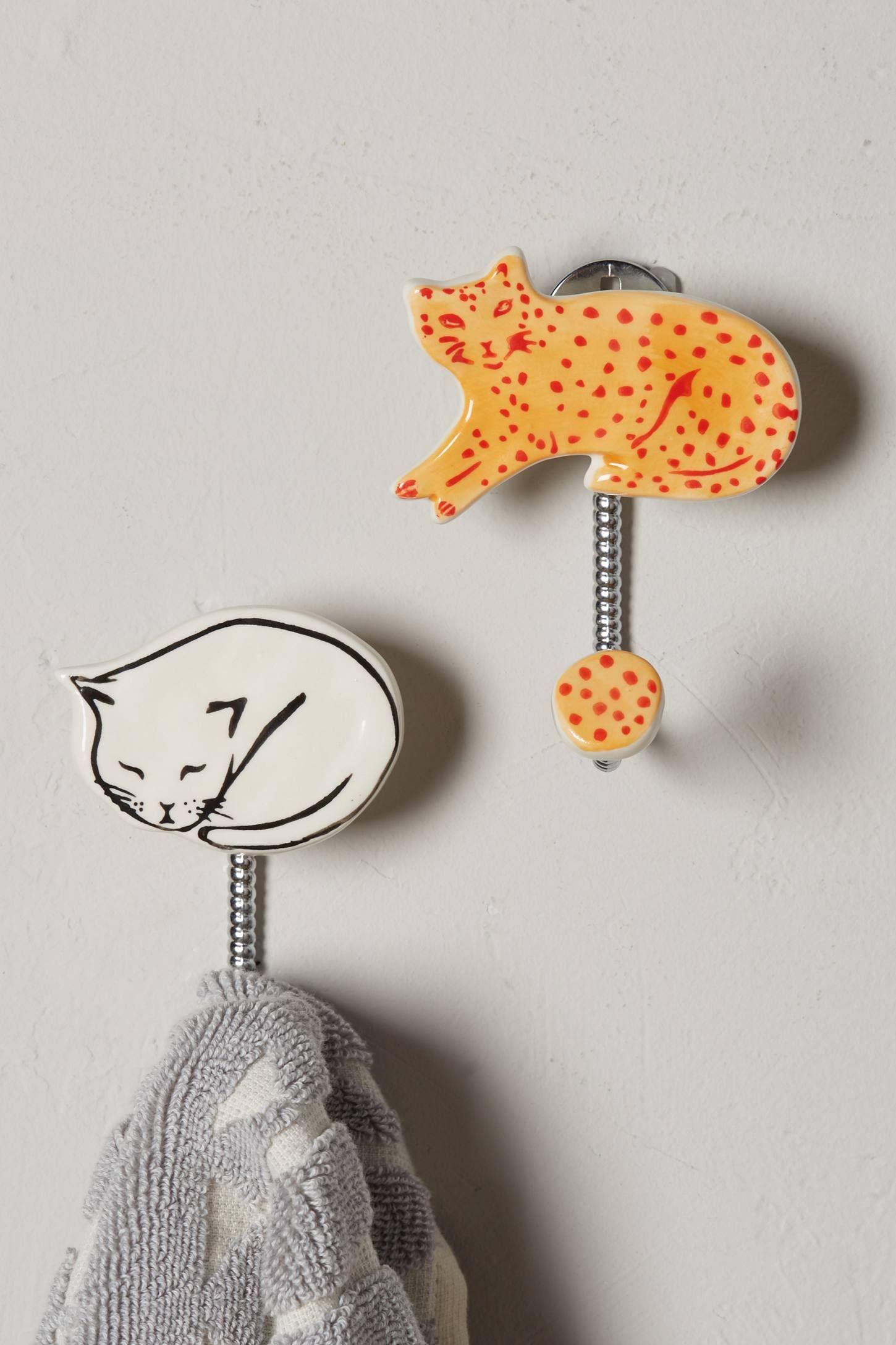 Cat Study Hook Decorative coat hooks, Coat hooks on wall
