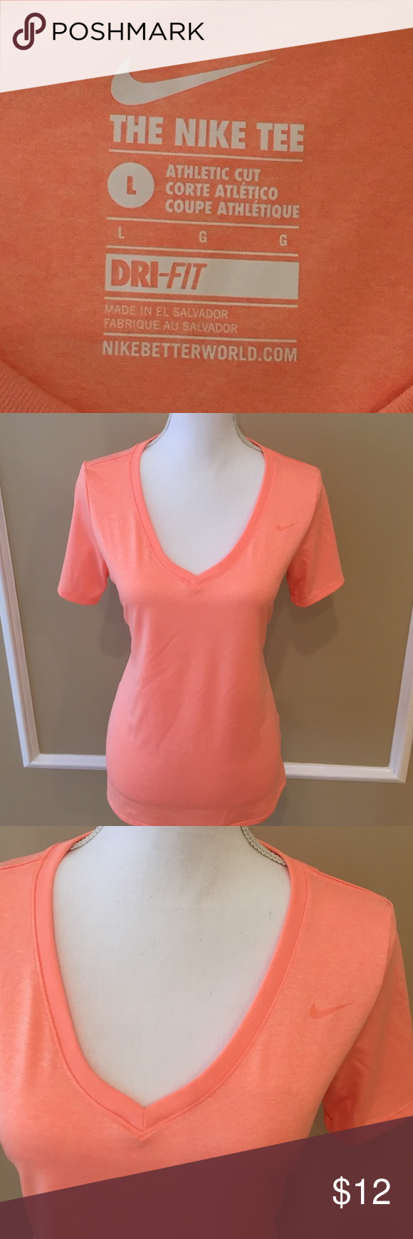 Nike dri-fit shirt Only worn 1-2 times.  Peachy-orange Nike dri-fit athletic top.  Perfect for your New Years resolutions! Nike Tops