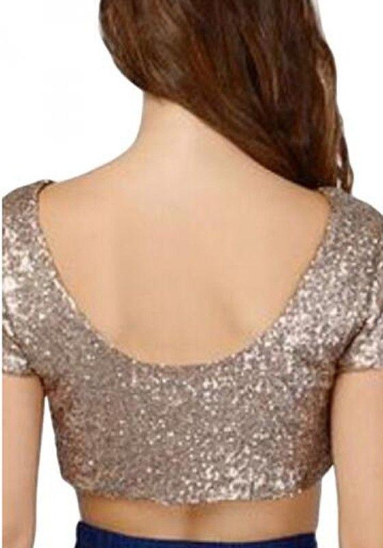 5f36318c8c5f Gold Pailletten Rückenfreie Kleidung Rundhals Kurzarm Sexy Mode schicke  Damen Bauchfreies Ober