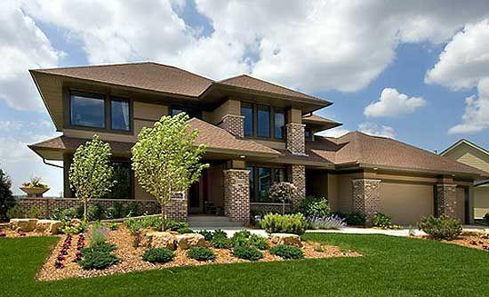 Plan 14469rk Prairie Style Home Plan Prairie Style Houses Prairie Style Mediterranean House Designs