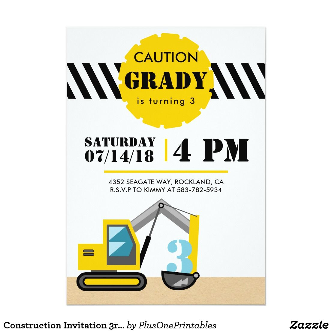 Construction Invitation 3rd Birthday Third Invite | Construction ...