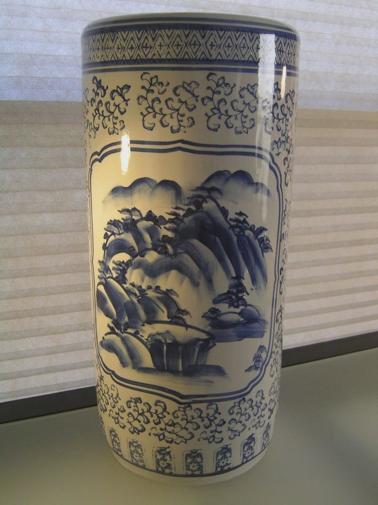 Blue And White Chinese Porcelain Ceramic Umbrella Stand Vase 18