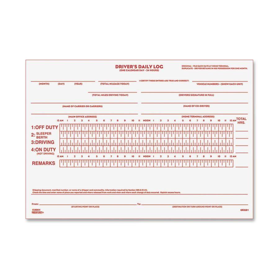 Free Driver Log Sheet  Rediform DriverS Daily Log Book