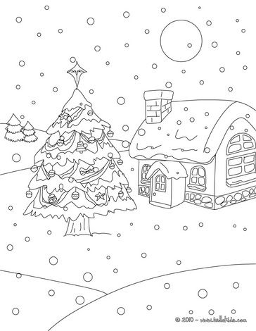Christmas Snow Landscape Coloring Page Christmas Tree Coloring Page Christmas Colors Christmas Coloring Sheets