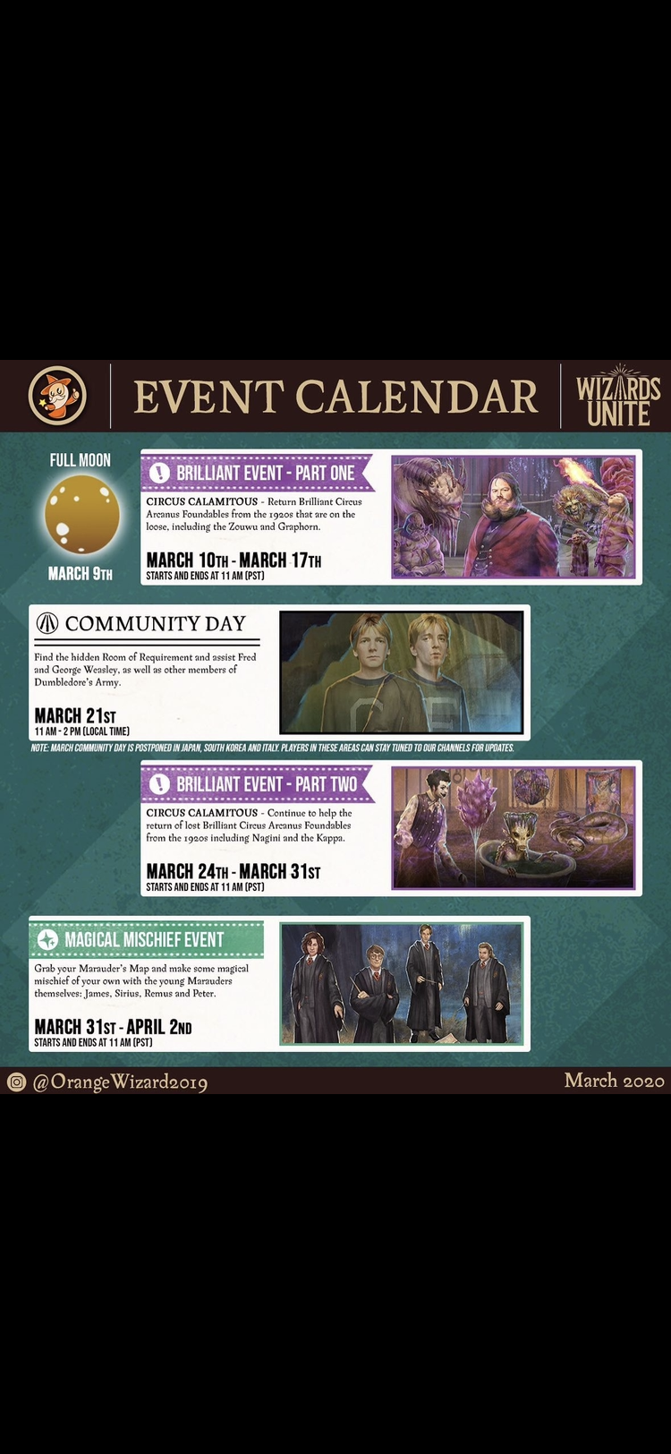 Pin By Marla Montville On Harry Potter Wizards Unite Event Calendar March 9th 10 Things