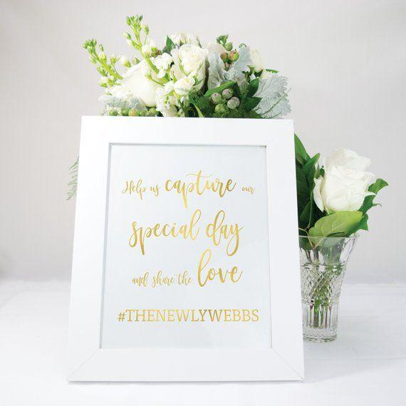 Wedding Hairstyle Hashtags: Copper Calligraphy Style Wedding Hashtag Sign, Elegant