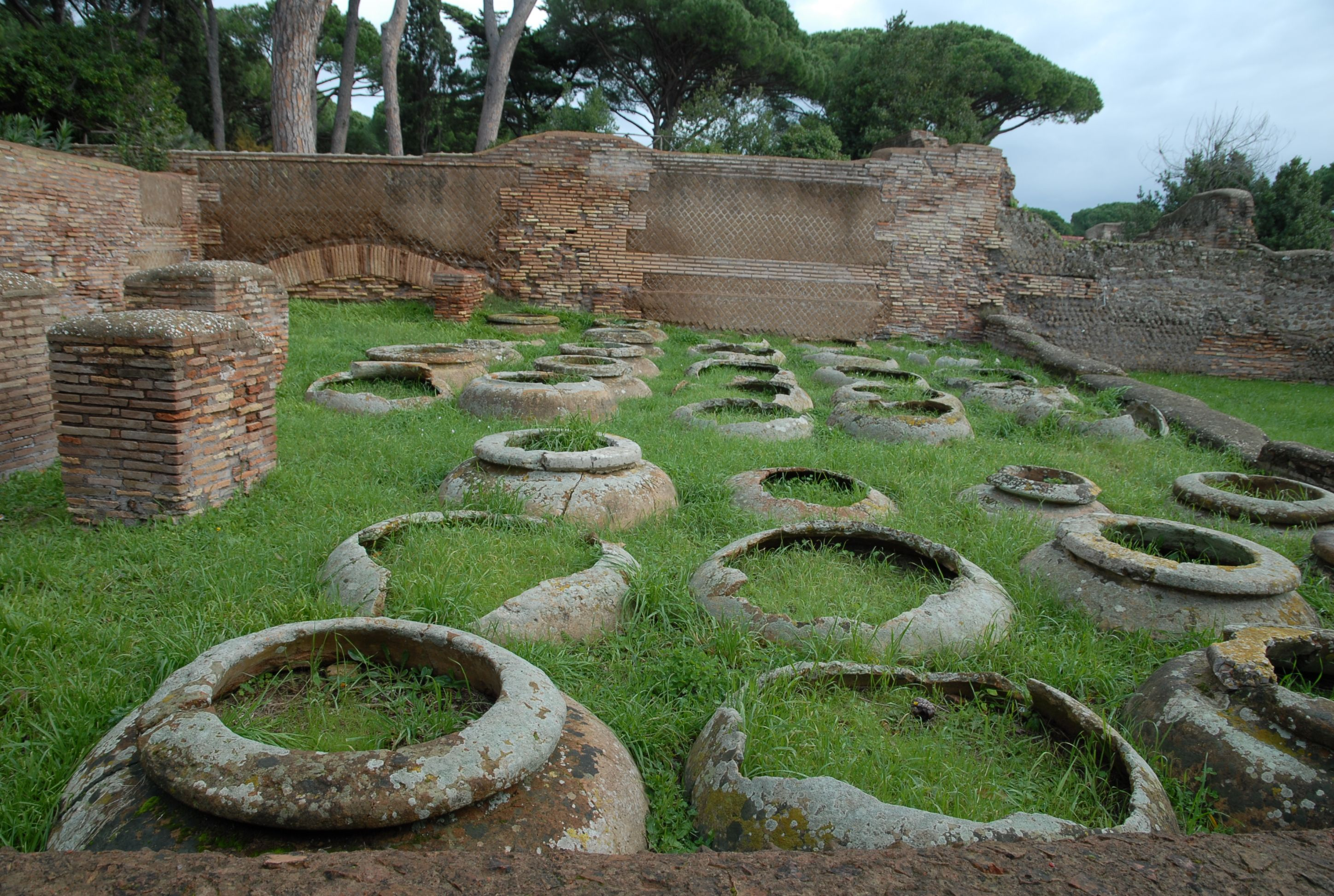 wine flasks in Ostia antica - Rome's ancient port city
