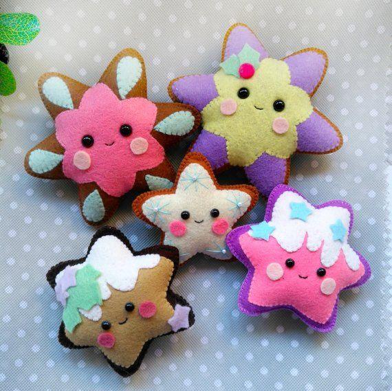 Felt Gingerbread Cookie Pattern Christmas Ornaments Gingerbread