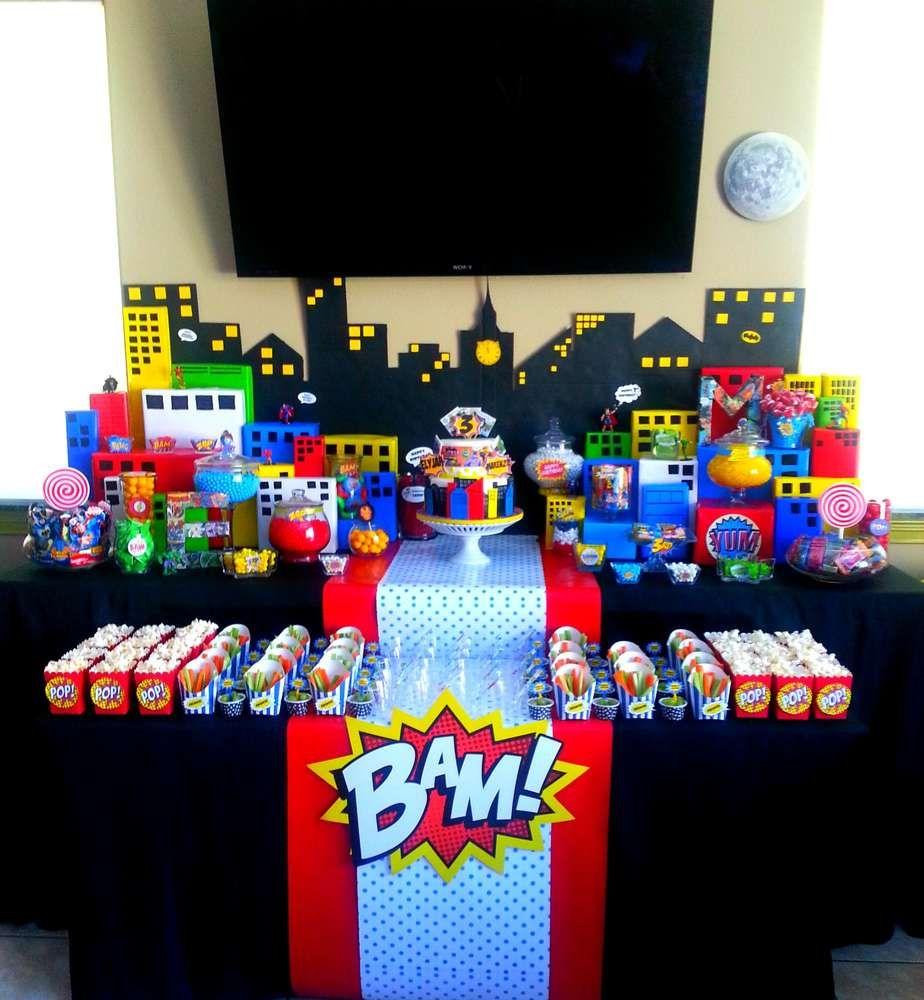 Superhero pop art comic birthday party ideas pinterest for Decoracion retro pop