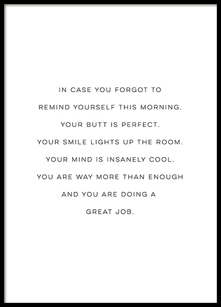 Your Butt is Perfect Poster in the group Prints / Typography & quotes at Desenio AB