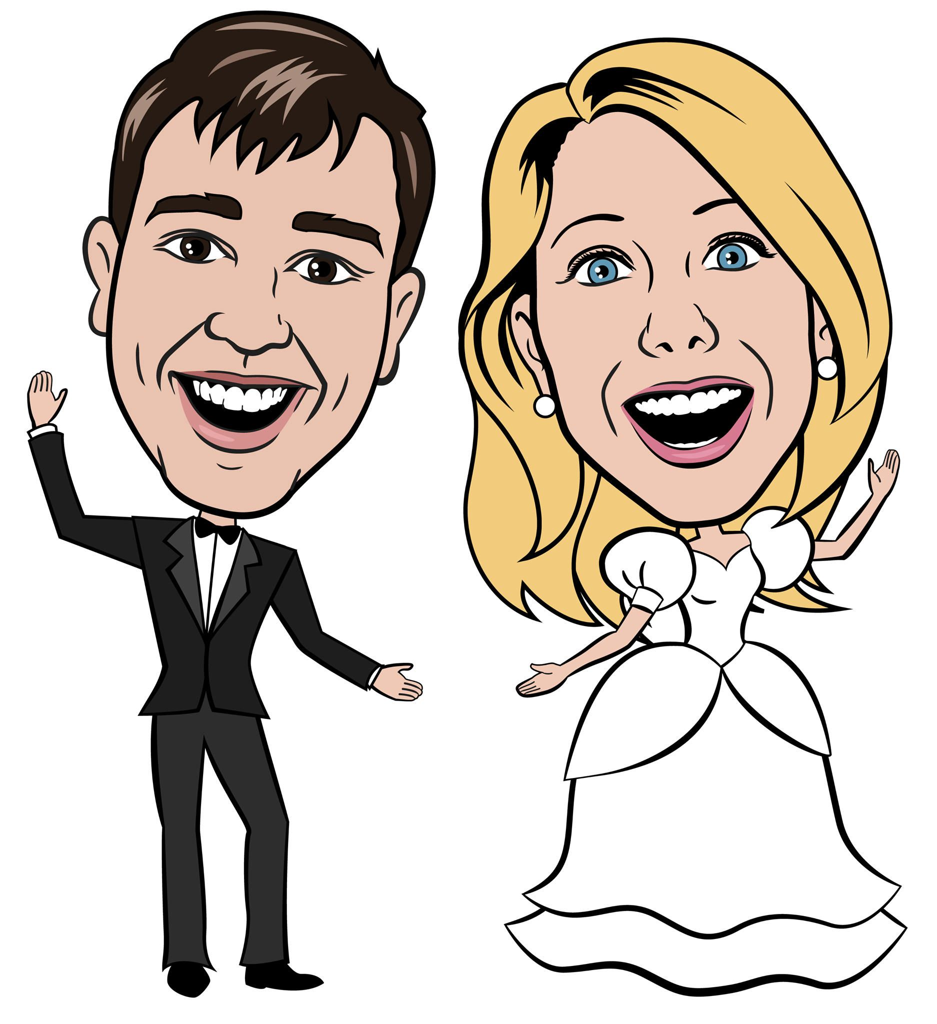 Digital Custom Wedding Caricature Cartoon Of Bride Groom From
