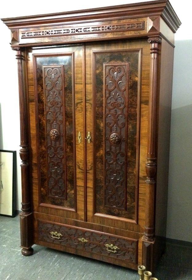 schrank nussholz s ulen geschnitzt gr nderzeit historismus um 1880 ebay m bel m bel. Black Bedroom Furniture Sets. Home Design Ideas