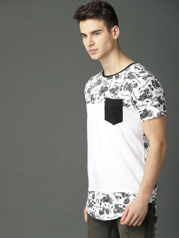 67444f210bf0 Buy Roadster Men White & Black Printed Round Neck T Shirt - Tshirts for Men  6720223 | Myntra