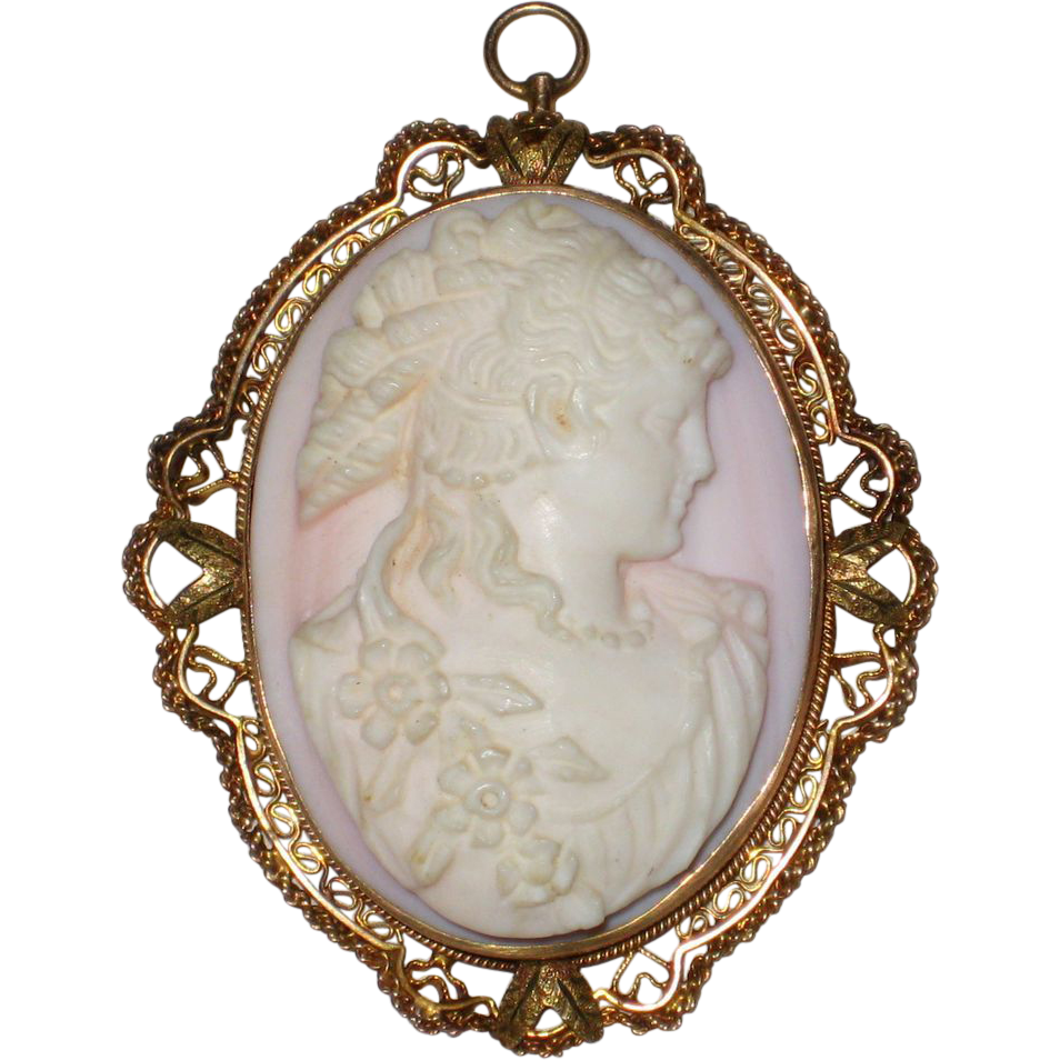 Pink victorian shell cameo pendant of flora high relief pale pink victorian shell cameo pendant of flora high relief aloadofball Choice Image