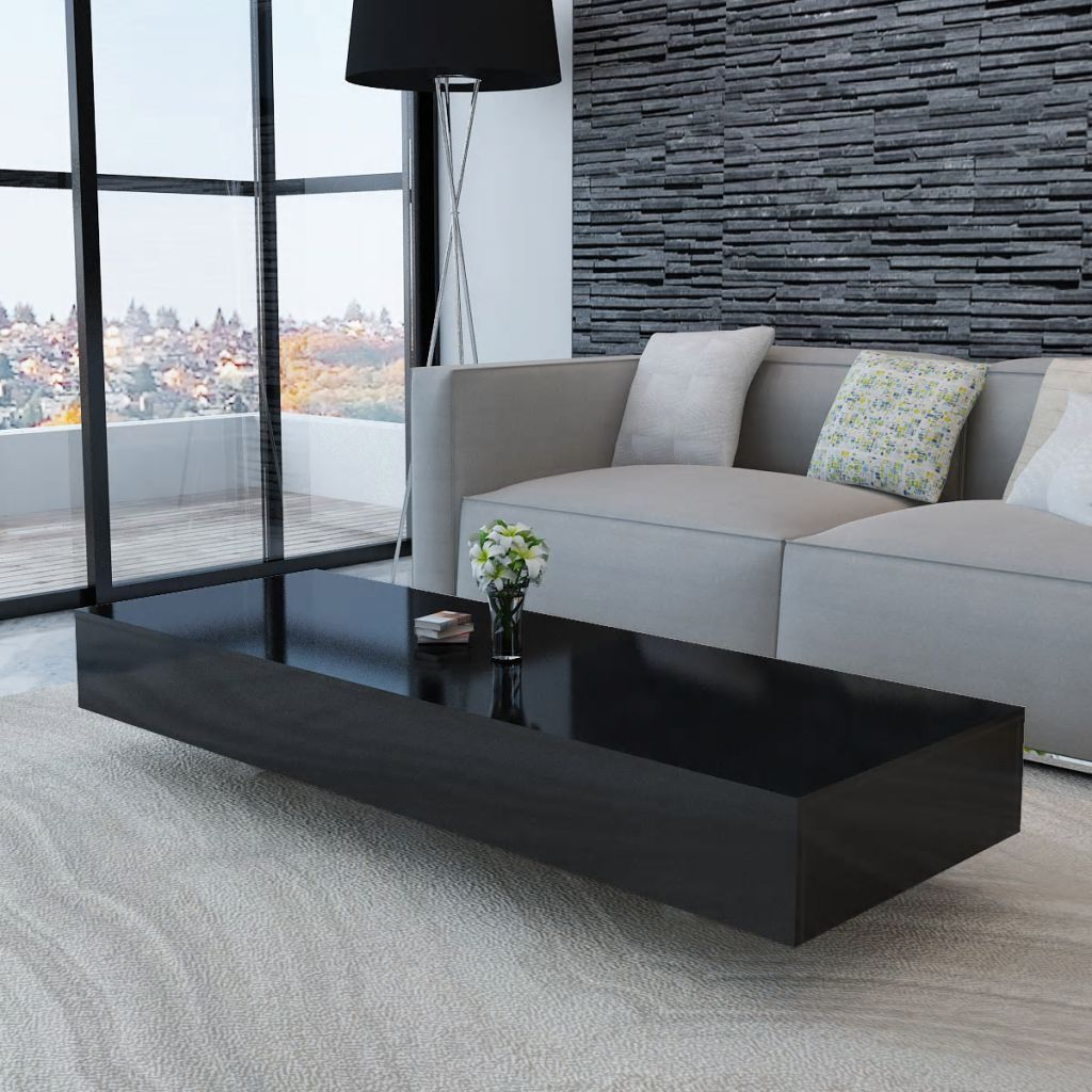 vidaXL Coffee Table Accent Tea Side Living Room Stand 33.5/45.3 Multi Colors - Black / 45.3 x 21.6 x 12.2