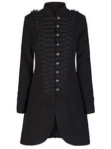 Mesdames-nouveau-noir-militaire-style-gothique-effet-tresse-laine-manteau-8-20