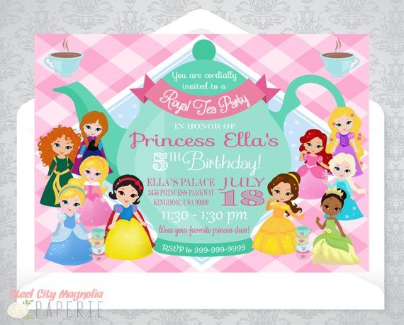 Princess Tea Party Invitation Birthday Invite Disney Princesses Teapot 5x7 Digital Printable