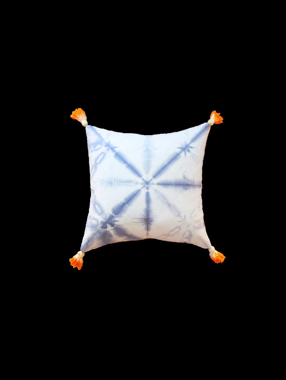 Hand Dyed Indigo Pillow, Tangerine Tassels