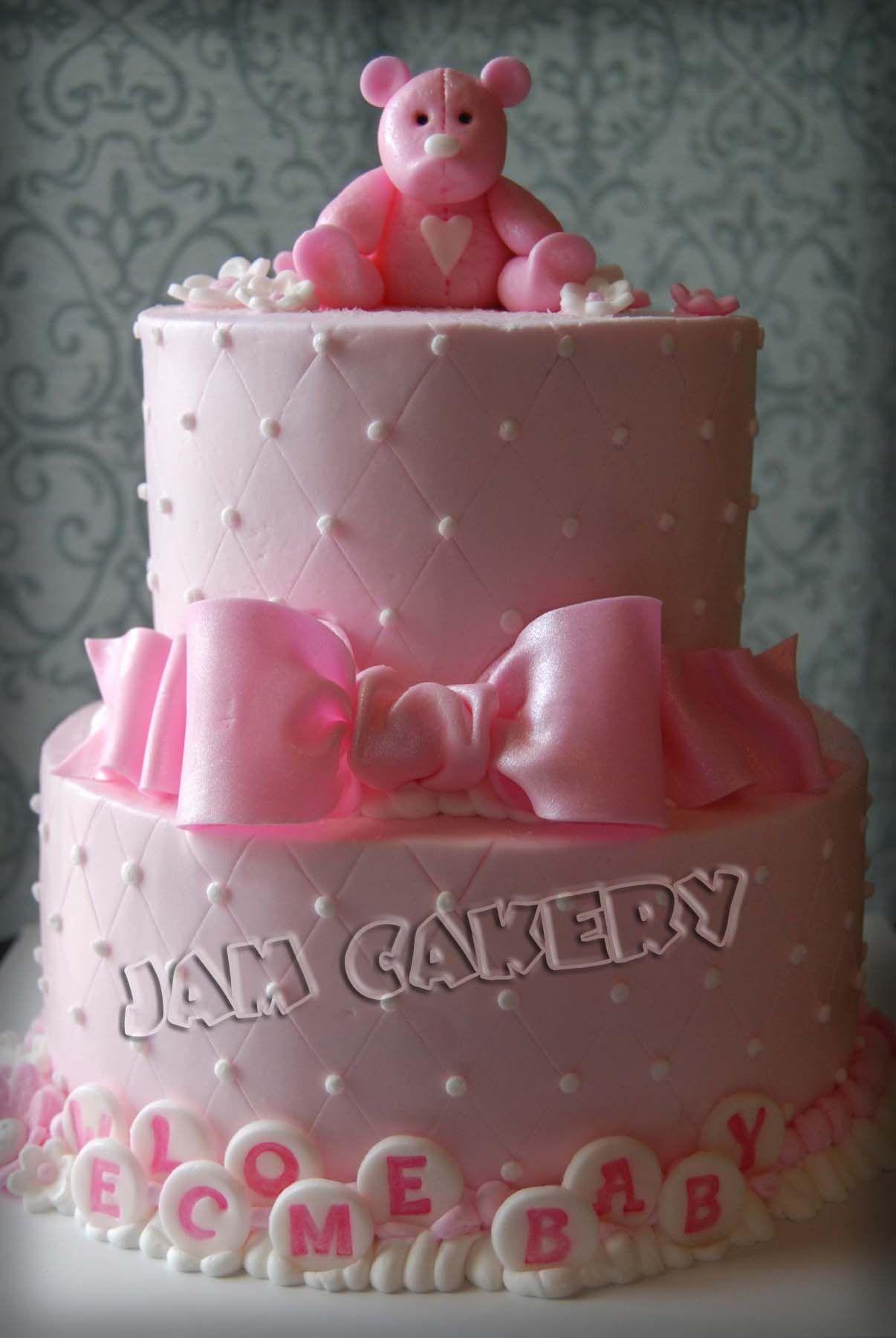 Pink Bear Baby Shower Cake