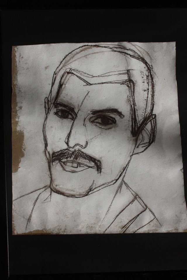 Freddie acrylic paint & charcoal on paper (50x 70 cm)