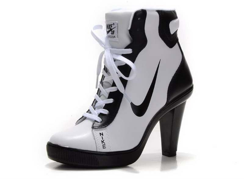 2017 New Free ShippingFree Shipping Nike Swoosh High Heels Girls Shoes  White Black F7713