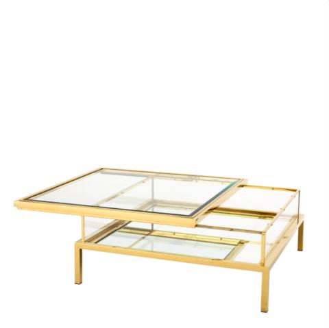 Gold Sliding Top Coffee Table Eichholtz Harvey Bijzettafels