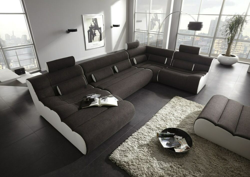 Details Zu Wohnlandschaft Ecksofa Design Elements U Form Designercouch Stoff Polster Couch Rustic Sofa Sofa Decor Beautiful Sofas