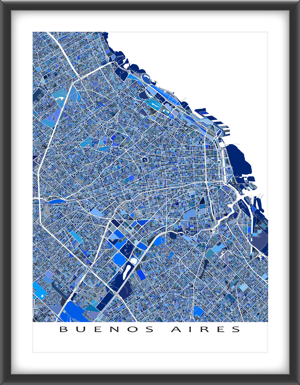 Buenos Aires Map Print Argentina Blue Buenos Aires South - Argentina map to print